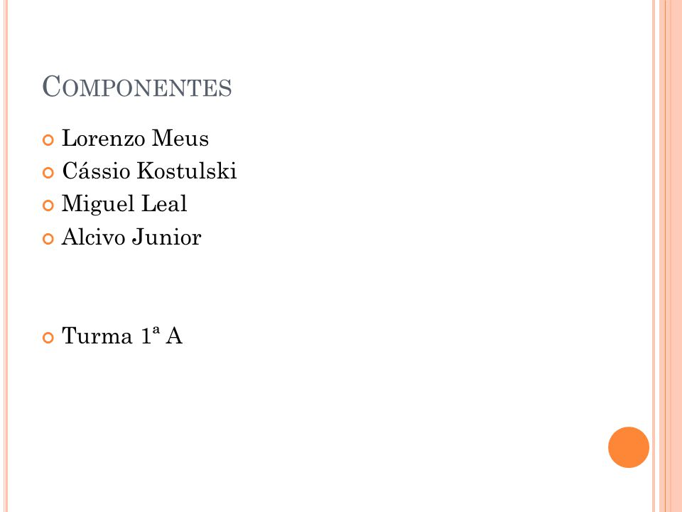 C OMPONENTES Lorenzo Meus Cássio Kostulski Miguel Leal Alcivo Junior Turma 1ª A