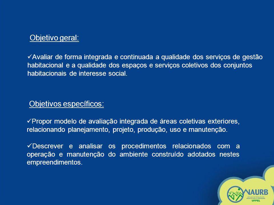 Objetivo geral: Avaliar de forma integrada e continuada a qualidade dos serviços de gestão habitacional e a qualidade dos espaços e serviços coletivos