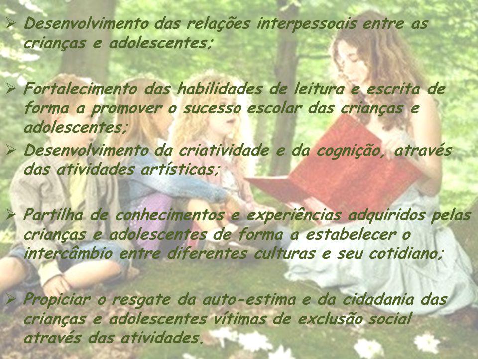 Desenvolvimento das relações interpessoais entre as crianças e adolescentes; Fortalecimento das habilidades de leitura e escrita de forma a promover o