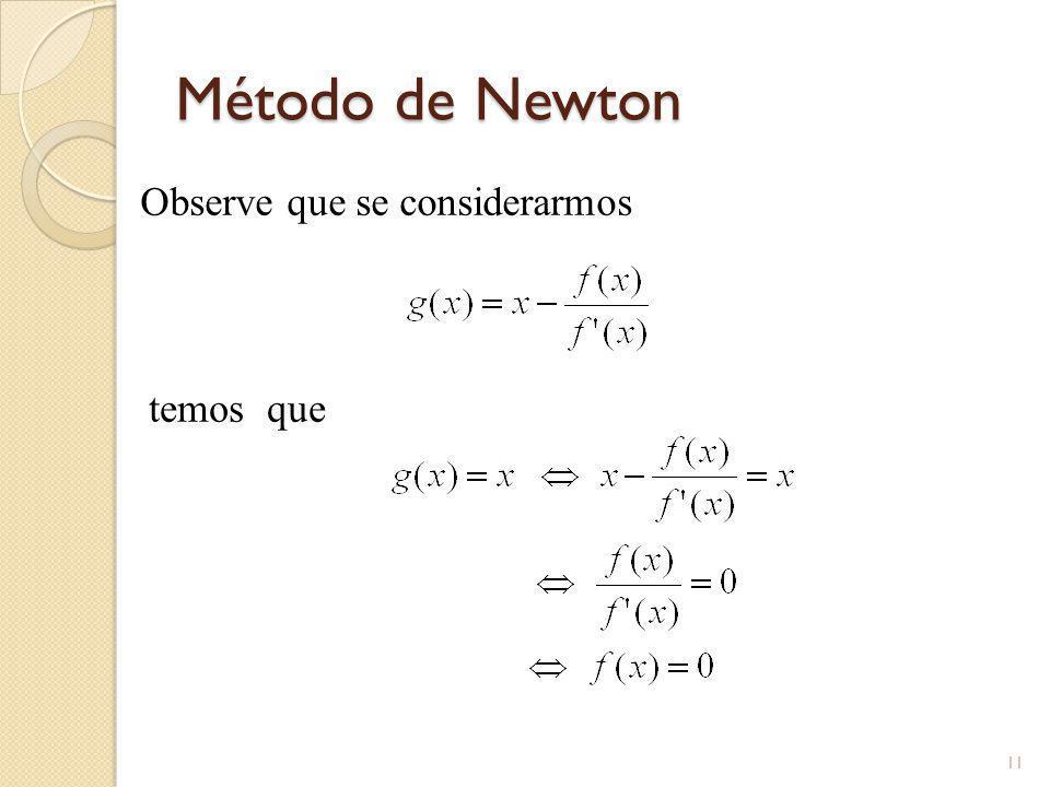 Método de Newton Observe que se considerarmos temos que 11