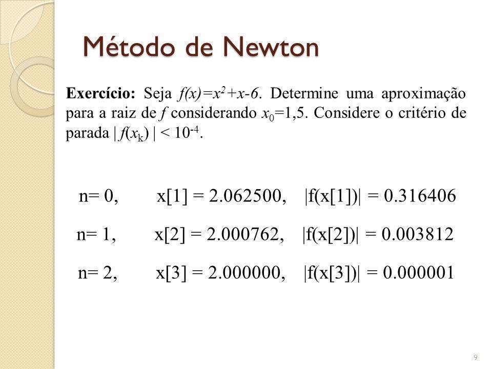 Método de Newton Exercício: Seja f(x)=x 2 +x-6. Determine uma aproximação para a raiz de f considerando x 0 =1,5. Considere o critério de parada | f(x