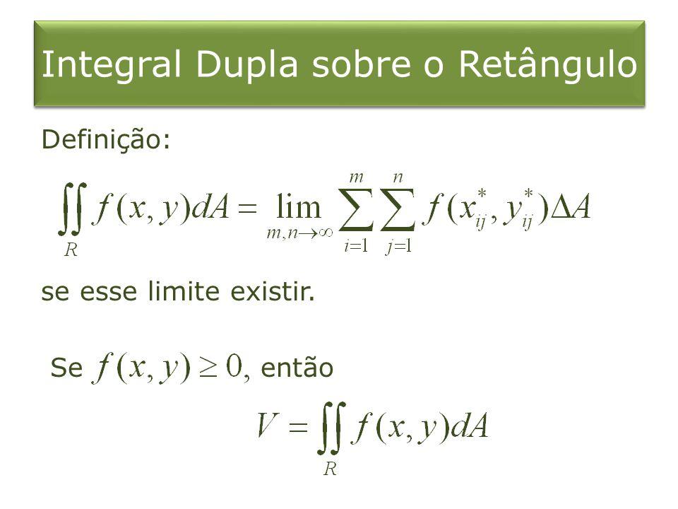 Integral Dupla sobre o Retângulo Definição: se esse limite existir. Se então