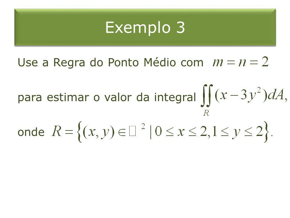 Exemplo 3 Use a Regra do Ponto Médio com para estimar o valor da integral onde