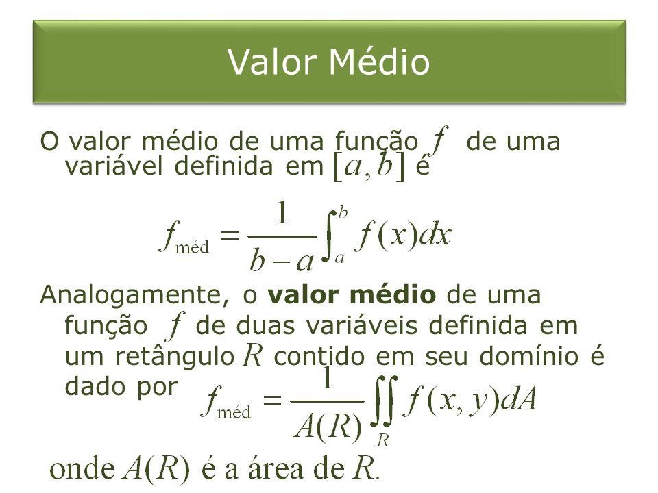 Valor Médio O valor médio de uma função de uma variável definida em é Analogamente, o valor médio de uma função de duas variáveis definida em um retân
