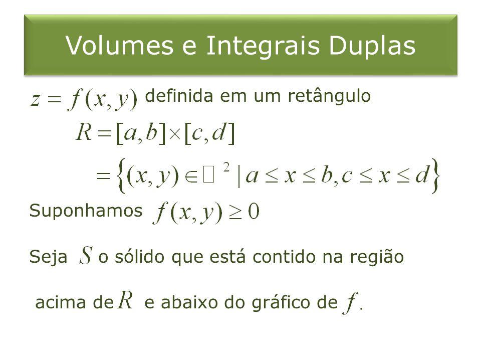 Volumes e Integrais Duplas definida em um retângulo Suponhamos Seja o sólido que está contido na região acima de e abaixo do gráfico de