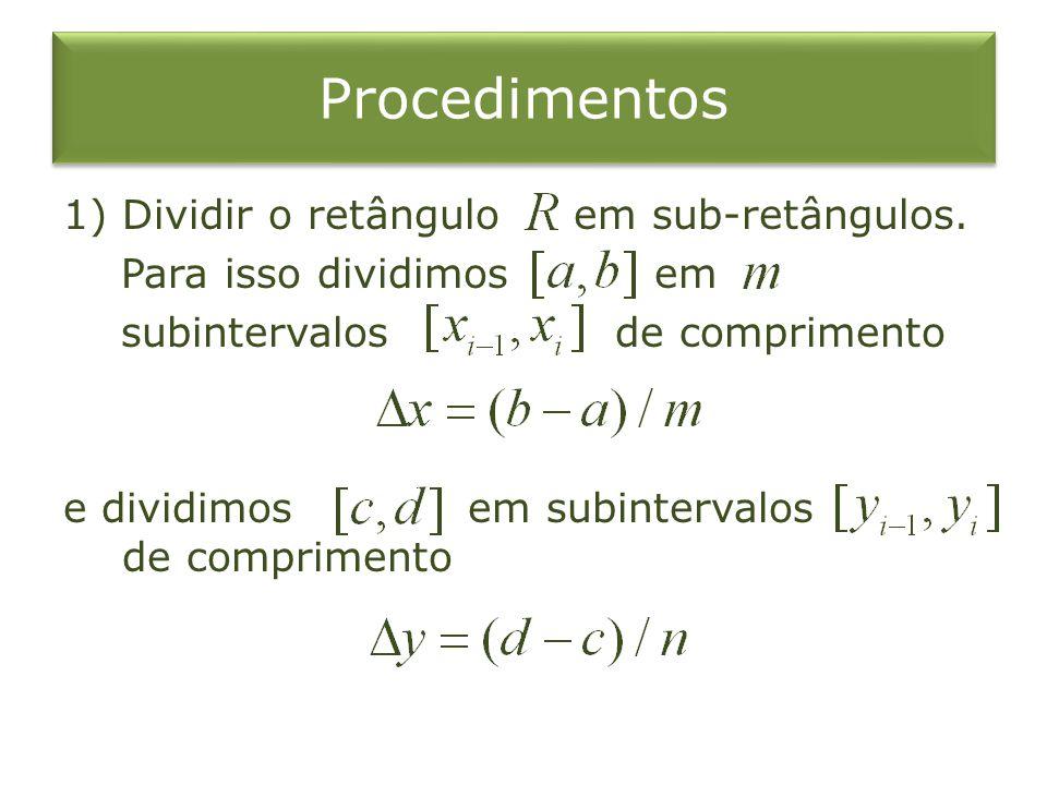 Procedimentos 1)Dividir o retângulo em sub-retângulos. Para isso dividimos em subintervalos de comprimento e dividimos em subintervalos de comprimento