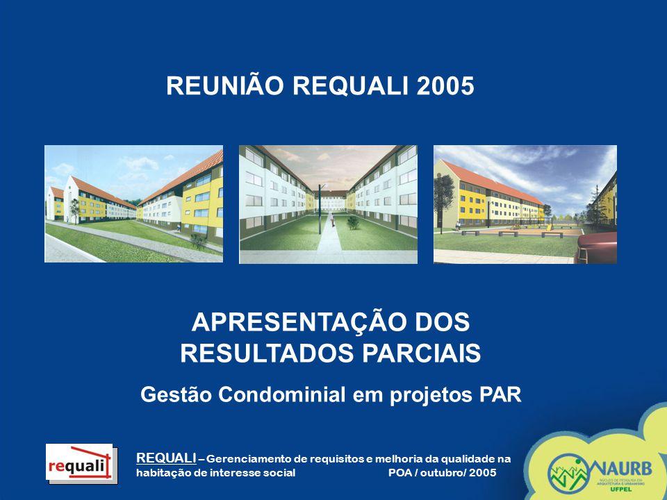 APRESENTAÇÃO DOS RESULTADOS PARCIAIS Gestão Condominial em projetos PAR REQUALI – Gerenciamento de requisitos e melhoria da qualidade na habitação de