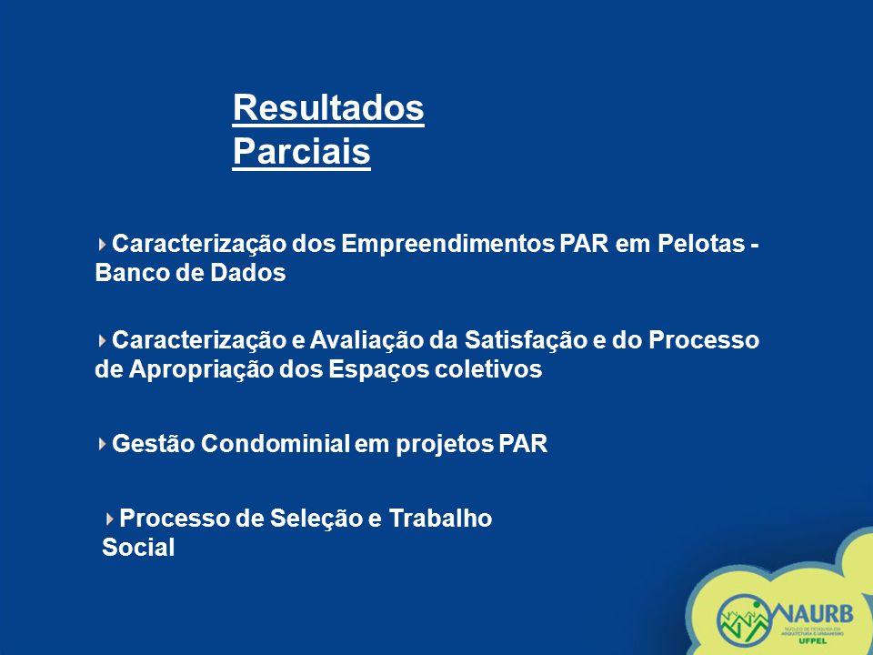 Caracterização dos Empreendimentos PAR em Pelotas - Banco de Dados Resultados Parciais Caracterização e Avaliação da Satisfação e do Processo de Aprop