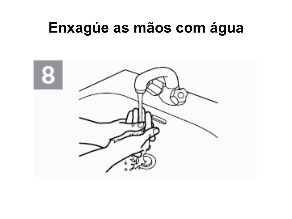 Enxagúe as mãos com água