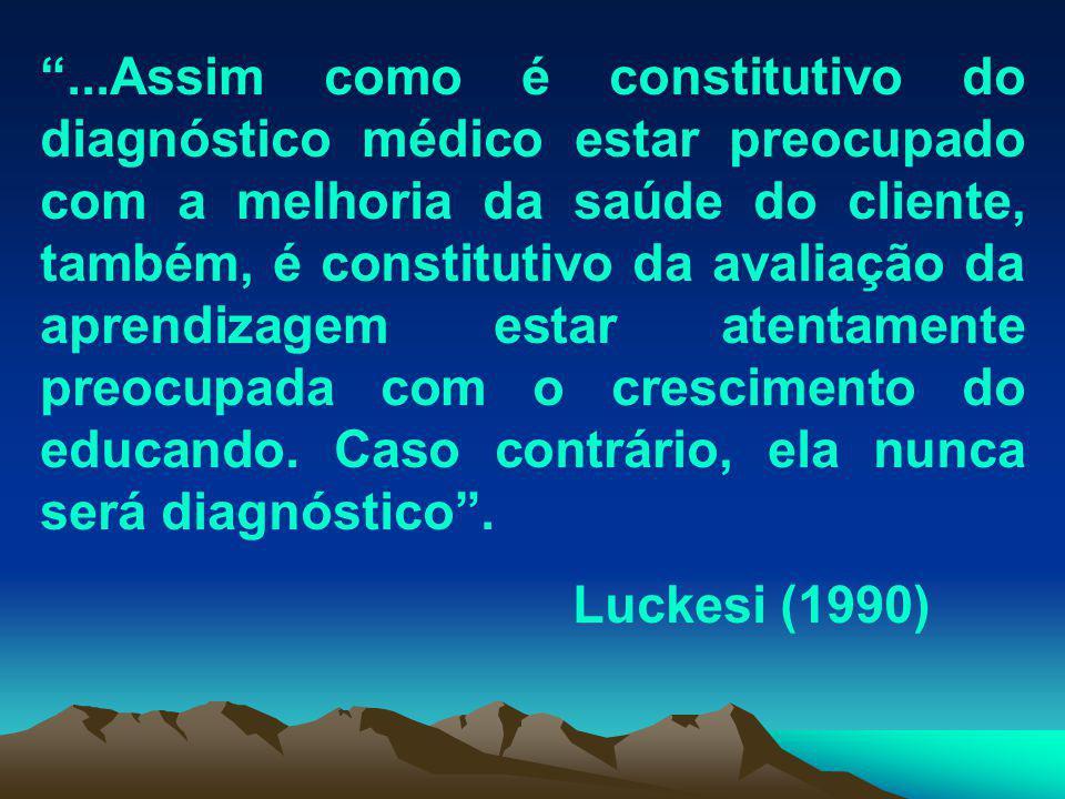 ...Assim como é constitutivo do diagnóstico médico estar preocupado com a melhoria da saúde do cliente, também, é constitutivo da avaliação da aprendizagem estar atentamente preocupada com o crescimento do educando.