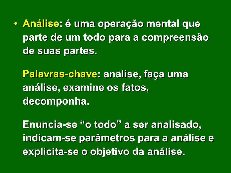 Análise: é uma operação mental que parte de um todo para a compreensão de suas partes.Análise: é uma operação mental que parte de um todo para a compr