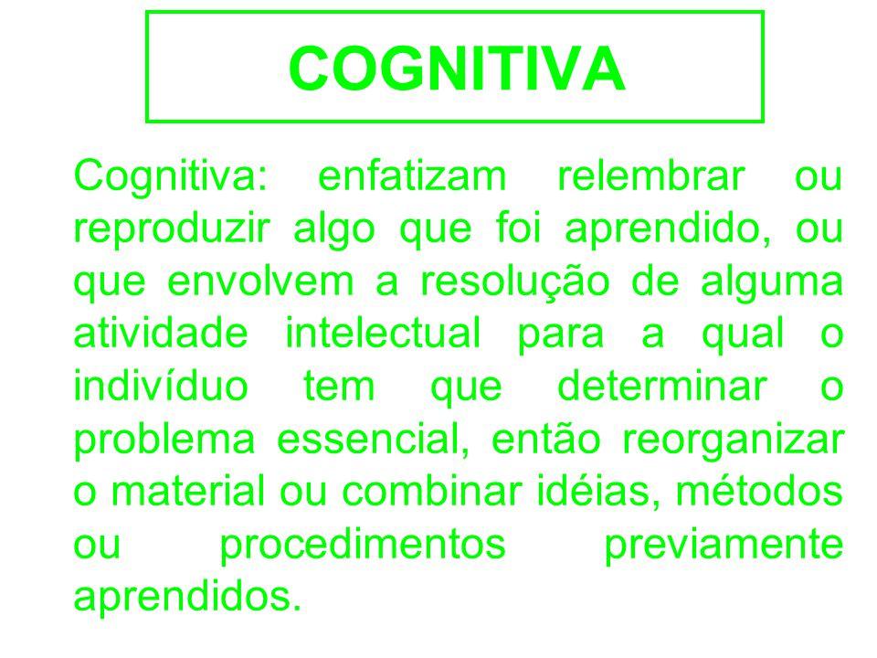 COGNITIVA Cognitiva: enfatizam relembrar ou reproduzir algo que foi aprendido, ou que envolvem a resolução de alguma atividade intelectual para a qual o indivíduo tem que determinar o problema essencial, então reorganizar o material ou combinar idéias, métodos ou procedimentos previamente aprendidos.