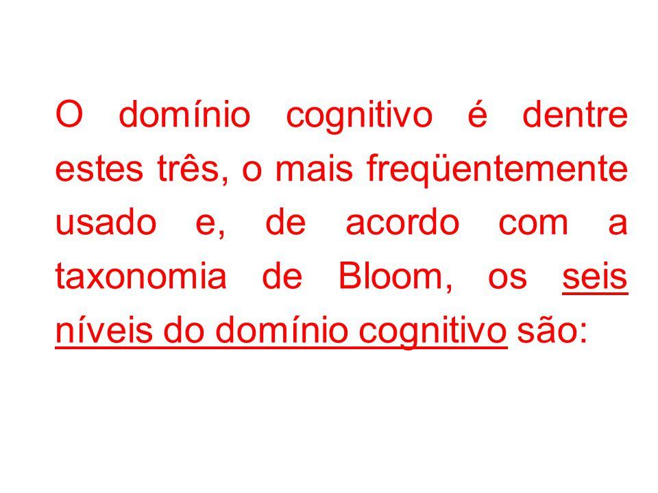 O domínio cognitivo é dentre estes três, o mais freqüentemente usado e, de acordo com a taxonomia de Bloom, os seis níveis do domínio cognitivo são: