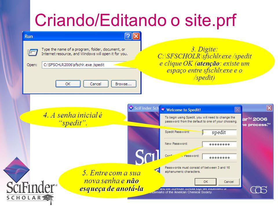 spedit ******** Criando/Editando o site.prf 3.