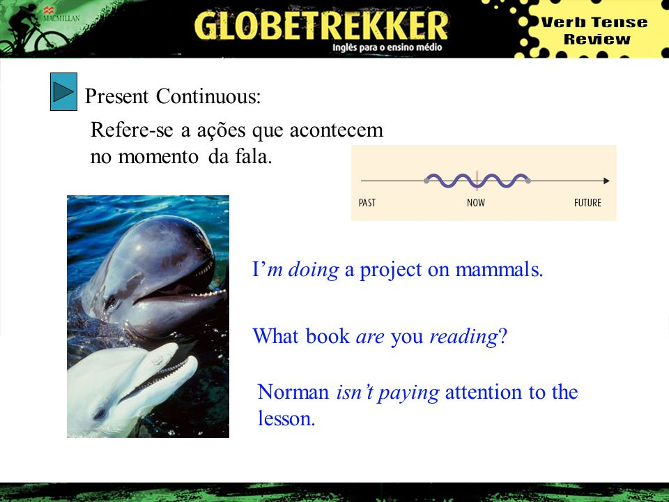Present Continuous: Refere-se a ações que acontecem no momento da fala. Im doing a project on mammals. What book are you reading? Norman isnt paying a