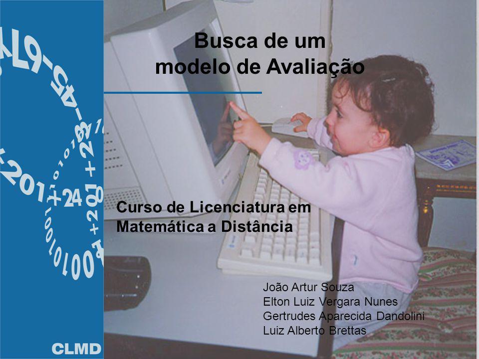 Busca de um modelo de Avaliação João Artur Souza Elton Luiz Vergara Nunes Gertrudes Aparecida Dandolini Luiz Alberto Brettas Curso de Licenciatura em Matemática a Distância