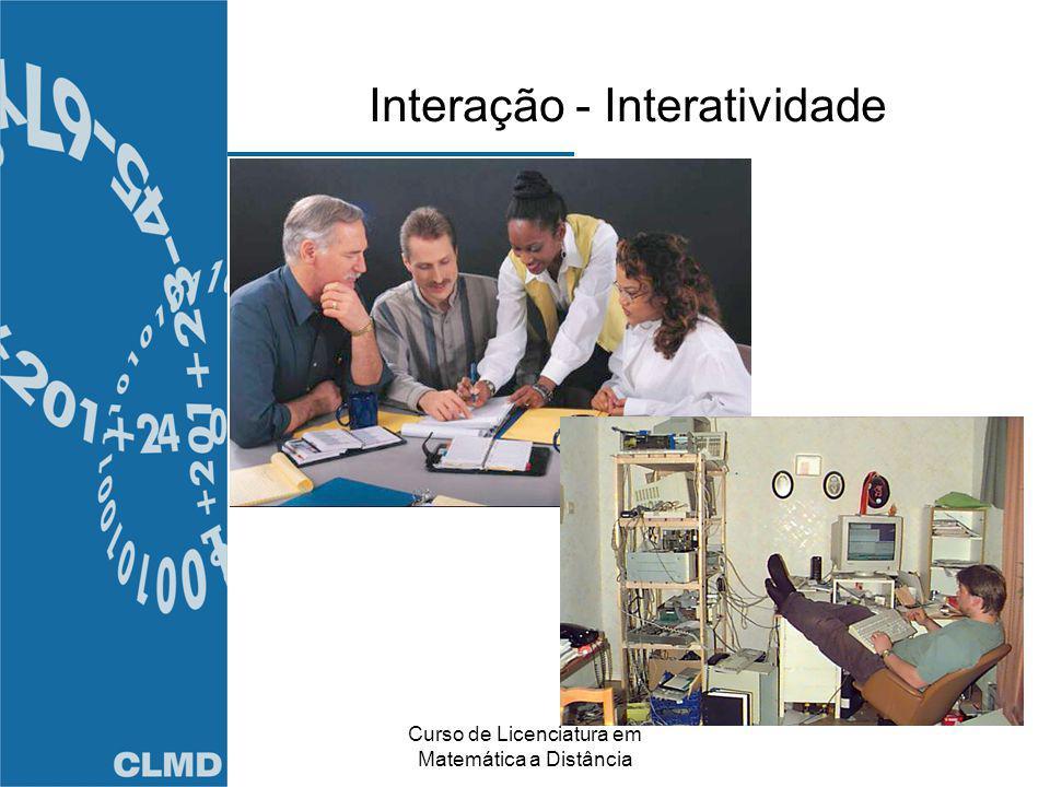 Curso de Licenciatura em Matemática a Distância Interação - Interatividade