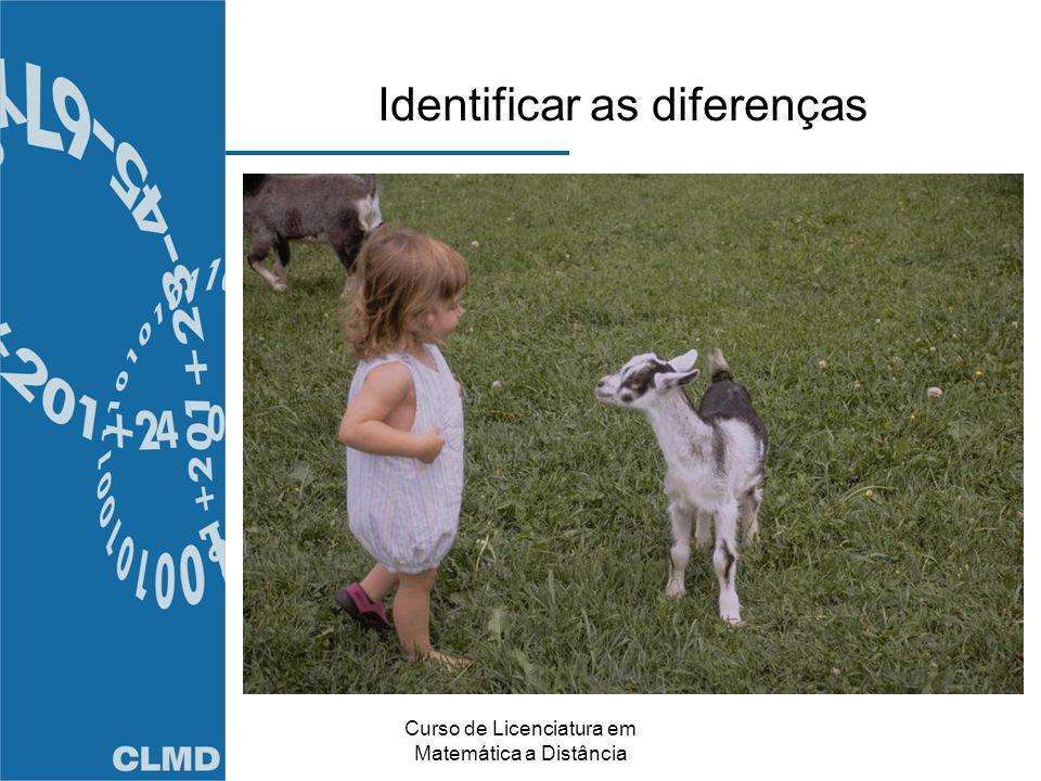 Curso de Licenciatura em Matemática a Distância Identificar as diferenças