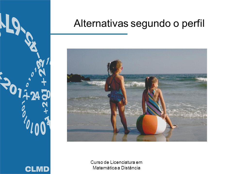 Curso de Licenciatura em Matemática a Distância Alternativas segundo o perfil