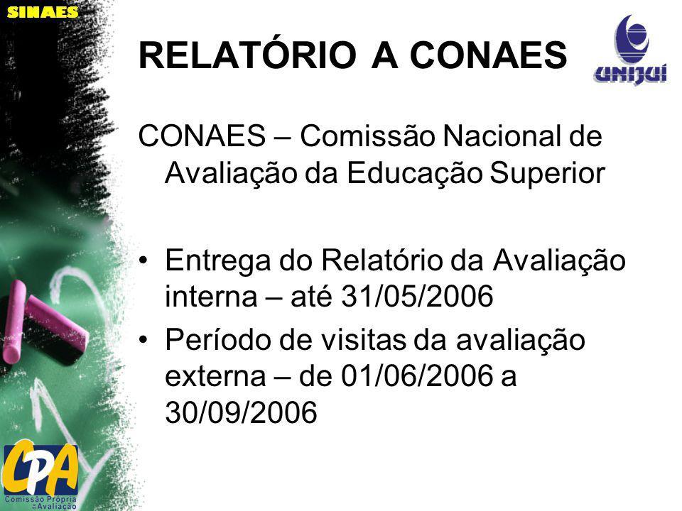 RELATÓRIO A CONAES CONAES – Comissão Nacional de Avaliação da Educação Superior Entrega do Relatório da Avaliação interna – até 31/05/2006 Período de