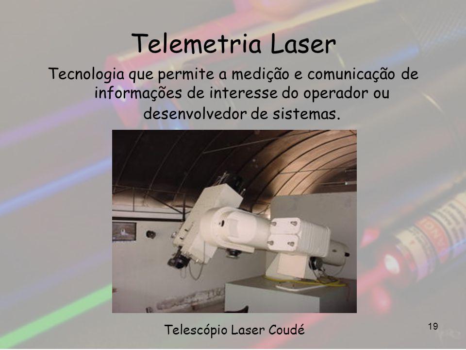 Telemetria Laser Tecnologia que permite a medição e comunicação de informações de interesse do operador ou desenvolvedor de sistemas. 19 Telescópio La