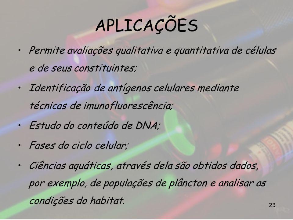 APLICAÇÕES Permite avaliações qualitativa e quantitativa de células e de seus constituintes; Identificação de antígenos celulares mediante técnicas de