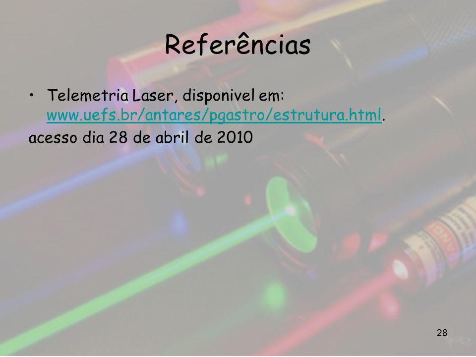 Referências Telemetria Laser, disponivel em: www.uefs.br/antares/pgastro/estrutura.html. www.uefs.br/antares/pgastro/estrutura.html acesso dia 28 de a
