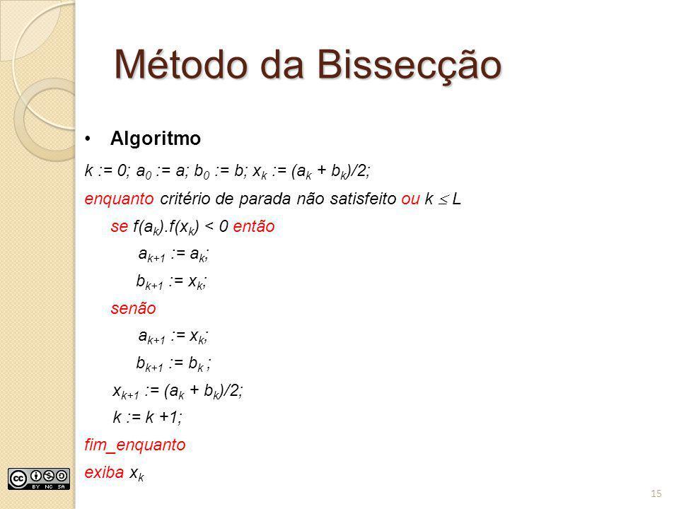 Método da Bissecção Algoritmo k := 0; a 0 := a; b 0 := b; x k := (a k + b k )/2; enquanto critério de parada não satisfeito ou k L se f(a k ).f(x k )