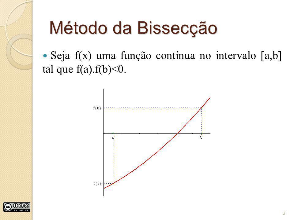 Método da Bissecção Seja f(x) uma função contínua no intervalo [a,b] tal que f(a).f(b)<0. 2