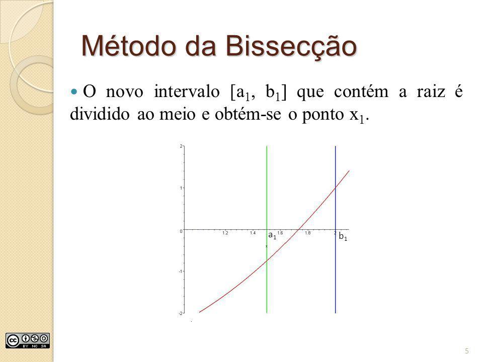 Método da Bissecção O novo intervalo [a 1, b 1 ] que contém a raiz é dividido ao meio e obtém-se o ponto x 1. a1a1 b1b1 5