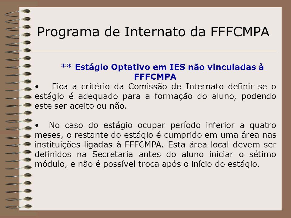 Programa de Internato da FFFCMPA ** Estágio Optativo em IES não vinculadas à FFFCMPA Fica a critério da Comissão de Internato definir se o estágio é a