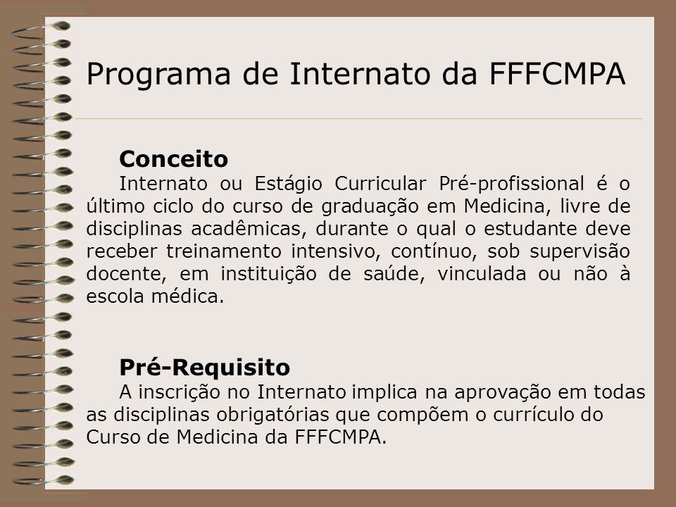 Conceito Internato ou Estágio Curricular Pré-profissional é o último ciclo do curso de graduação em Medicina, livre de disciplinas acadêmicas, durante