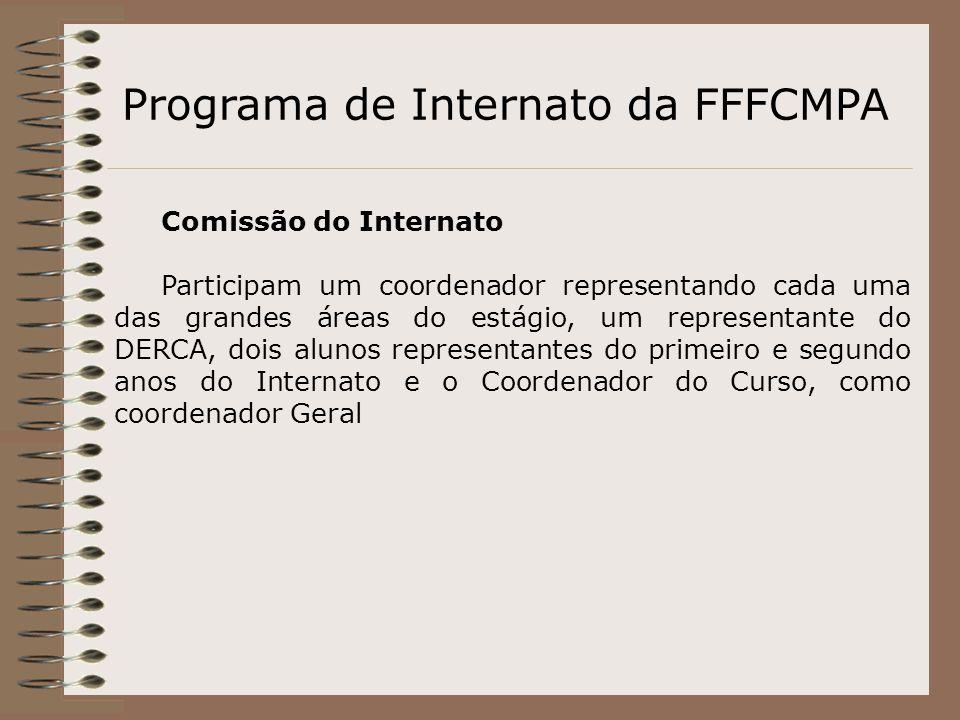 Programa de Internato da FFFCMPA Comissão do Internato Participam um coordenador representando cada uma das grandes áreas do estágio, um representante