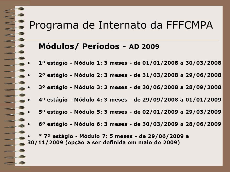 Programa de Internato da FFFCMPA Módulos/ Períodos - AD 2009 1º estágio - Módulo 1: 3 meses - de 01/01/2008 a 30/03/2008 2º estágio - Módulo 2: 3 mese