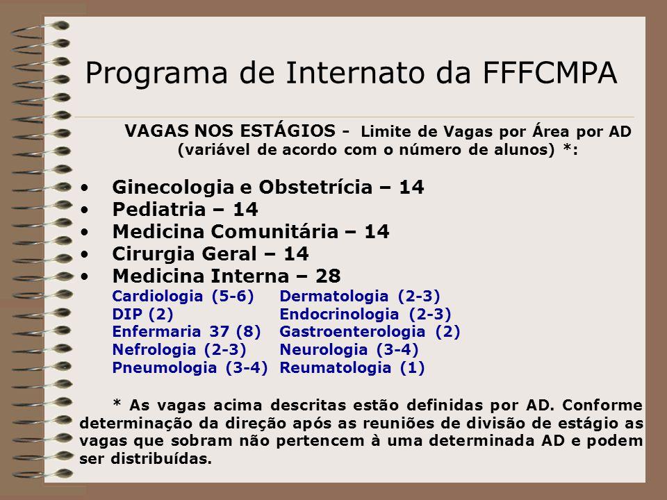 Programa de Internato da FFFCMPA VAGAS NOS ESTÁGIOS - Limite de Vagas por Área por AD (variável de acordo com o número de alunos) *: Ginecologia e Obs