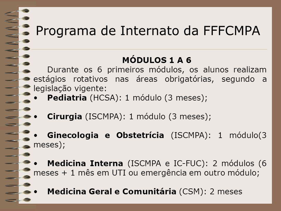 Programa de Internato da FFFCMPA MÓDULOS 1 A 6 Durante os 6 primeiros módulos, os alunos realizam estágios rotativos nas áreas obrigatórias, segundo a