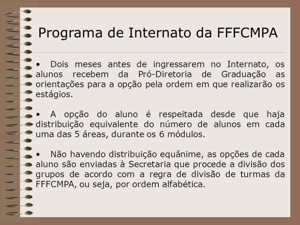 Programa de Internato da FFFCMPA Dois meses antes de ingressarem no Internato, os alunos recebem da Pró-Diretoria de Graduação as orientações para a o
