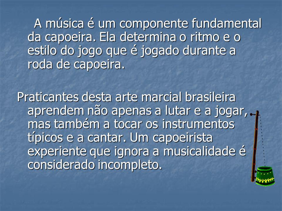 A música é um componente fundamental da capoeira. Ela determina o ritmo e o estilo do jogo que é jogado durante a roda de capoeira. A música é um comp