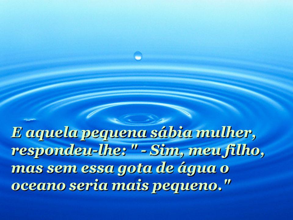E aquela pequena sábia mulher, respondeu-lhe: - Sim, meu filho, mas sem essa gota de água o oceano seria mais pequeno. E aquela pequena sábia mulher, respondeu-lhe: - Sim, meu filho, mas sem essa gota de água o oceano seria mais pequeno.