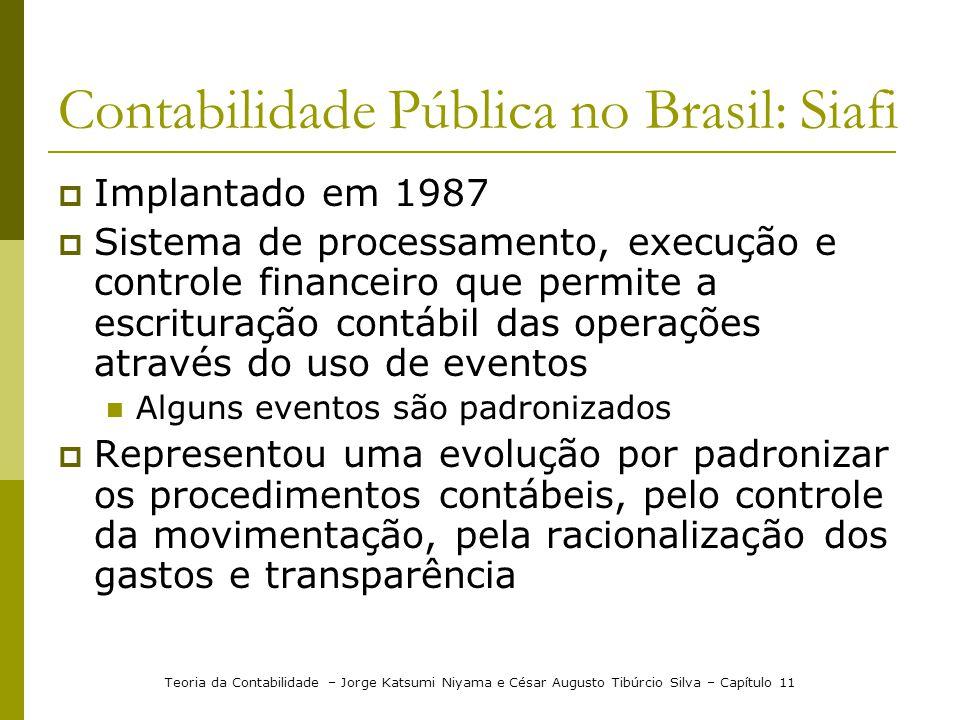 Contabilidade Pública no Brasil: Siafi Implantado em 1987 Sistema de processamento, execução e controle financeiro que permite a escrituração contábil