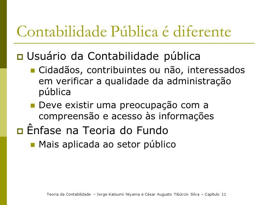 Contabilidade Pública é diferente Usuário da Contabilidade pública Cidadãos, contribuintes ou não, interessados em verificar a qualidade da administra