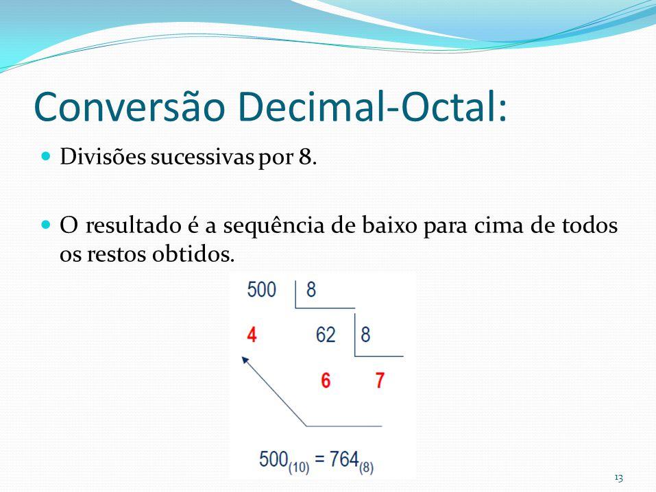 13 Conversão Decimal-Octal: Divisões sucessivas por 8. O resultado é a sequência de baixo para cima de todos os restos obtidos.