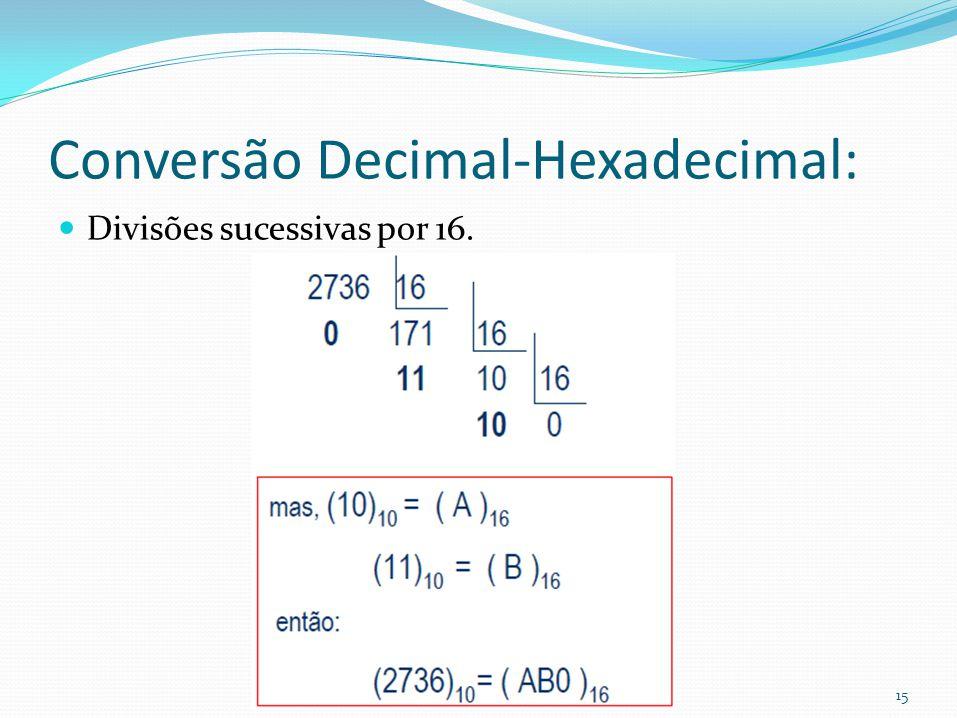 15 Conversão Decimal-Hexadecimal: Divisões sucessivas por 16.