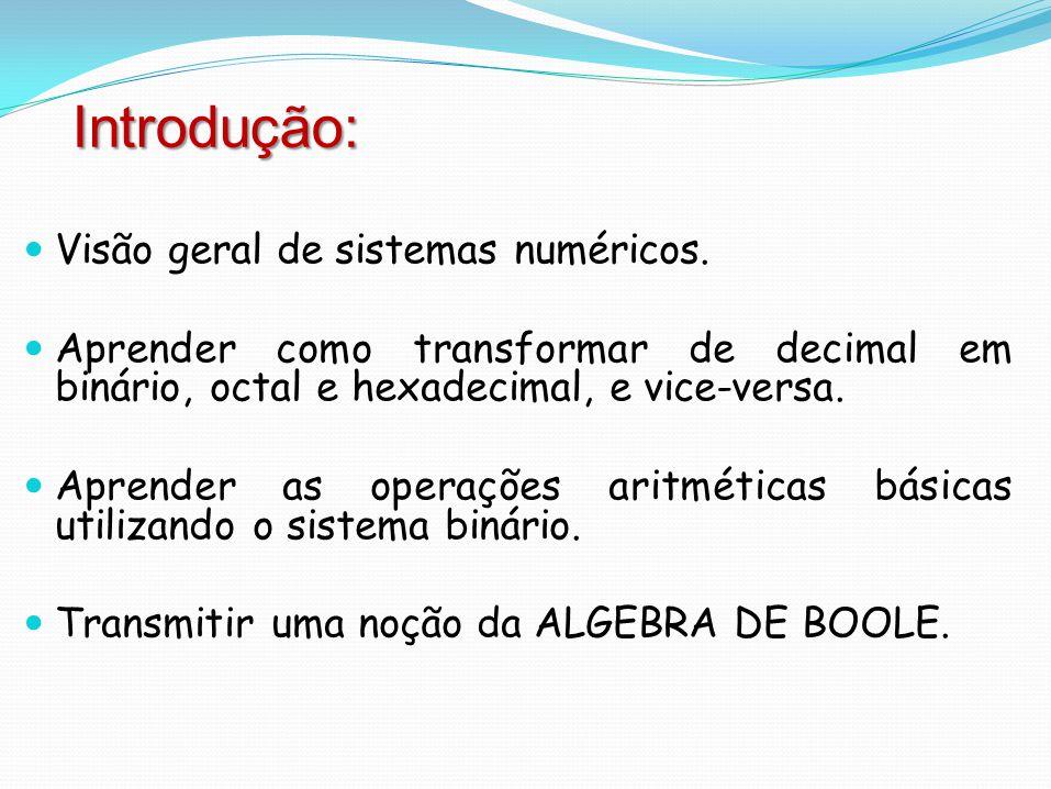 Principais sistemas numéricos: Decimal Alfabeto: 0, 1, 2, 3, 4, 5, 6, 7,8, 9 Binário Alfabeto: 0, 1 Octal Alfabeto: 0, 1, 2, 3, 4, 5, 6, 7 Hexadecimal Alfabeto: 0, 1, 2, 3, 4, 5, 6, 7, 8, 9, A, B, C, D, E, F É importante atentar que no sistema hexadecimal, as letras de A até F equivalem, em decimal, a 10, 11, 12, 13, 14 e 15, respectivamente Sistemas Numéricos: