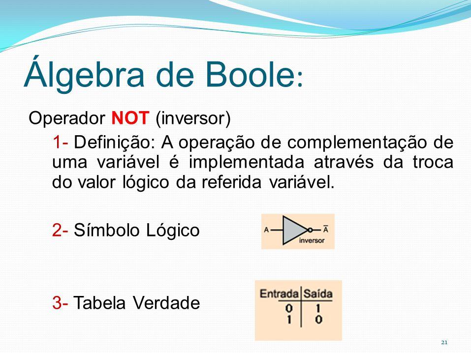 21 Álgebra de Boole : Operador NOT (inversor) 1- Definição: A operação de complementação de uma variável é implementada através da troca do valor lógi
