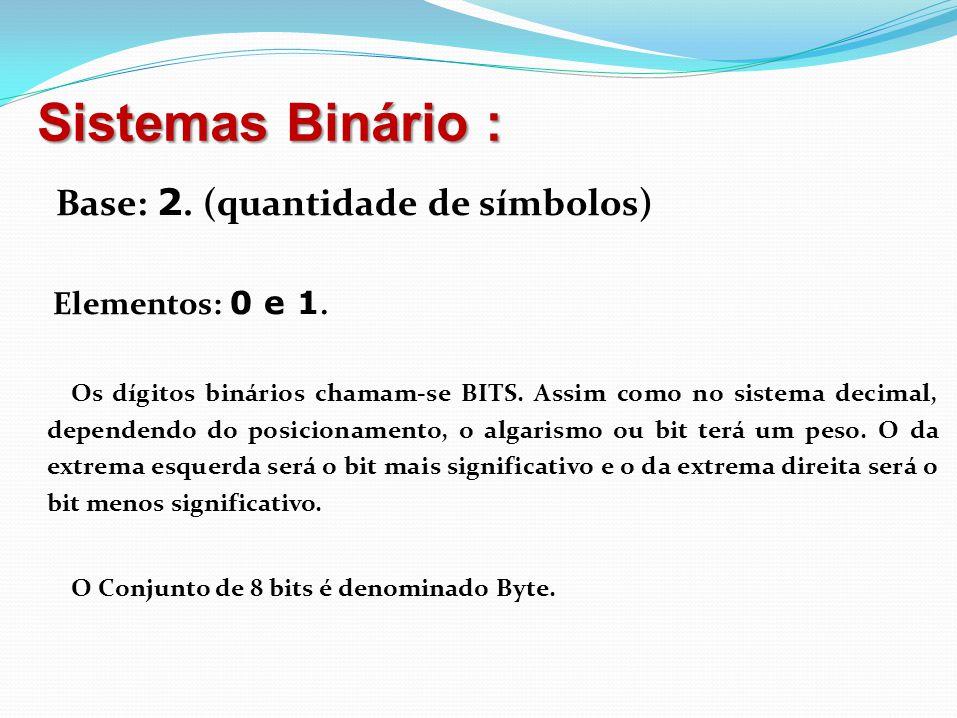 Sistemas Binário : Base: 2. (quantidade de símbolos) Elementos: 0 e 1. Os dígitos binários chamam-se BITS. Assim como no sistema decimal, dependendo d