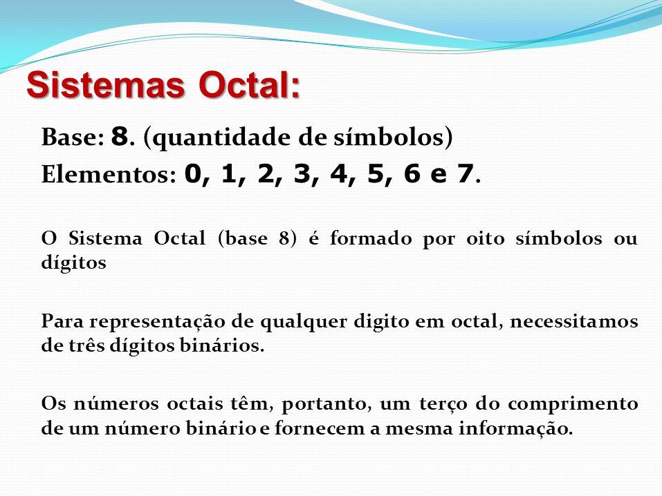 17 Operações: Sistema Binário Adição: 0 + 0 = 0 0 + 1 = 1 1 + 0 = 1 1 + 1 = 0 e vai 1 Subtração: 0 - 0 = 0 0 - 1 = 0 e empresta 1 1 - 0 = 1 1 - 1 = 0