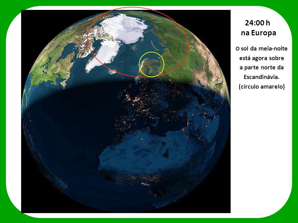 O sol da meia-noite está agora sobre a parte norte da Escandinávia. (círculo amarelo) 24:00 h na Europa