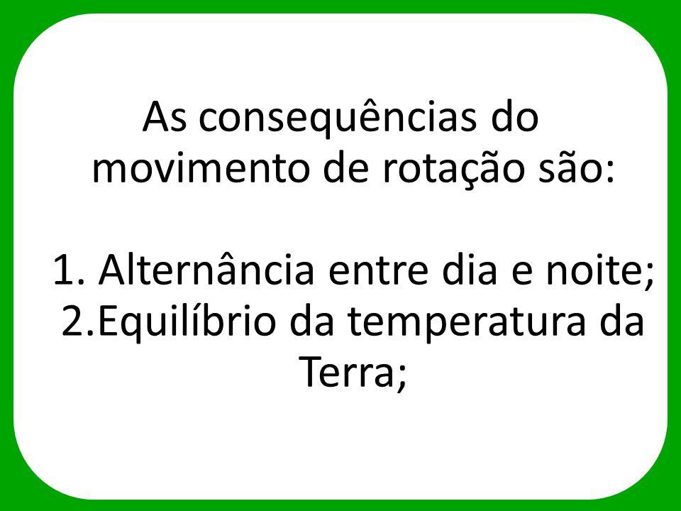 As consequências do movimento de rotação são: 1. Alternância entre dia e noite; 2.Equilíbrio da temperatura da Terra;