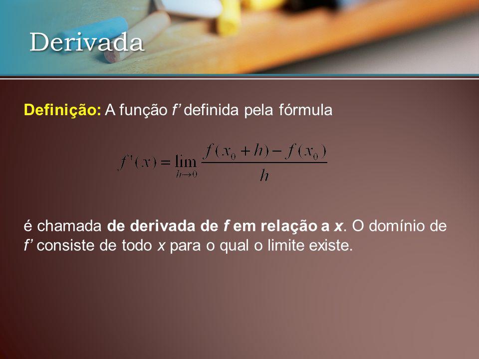 Derivada Definição: A função f definida pela fórmula é chamada de derivada de f em relação a x. O domínio de f consiste de todo x para o qual o limite
